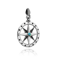 Compass Pendant - 925 Sterling Silver with Abalone Shell