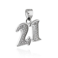 21 Pendant - 925 Sterling Silver with CZ Twenty One