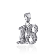 18 Pendant - 925 Sterling Silver with CZ's