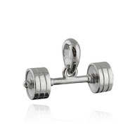 Large Barbell Pendant - 925 Sterling Silver - Weightlifting Gym