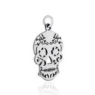 Sugar Skull Charm - 925 Sterling Silver - Open Cutout