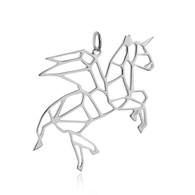 Origami Pegacorn Charm Winged Unicorn - 925 Sterling Silver