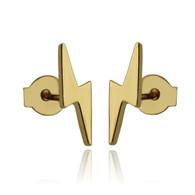 Lightning Bolt Stud Earrings - Gold Plated 925 Sterling Silver