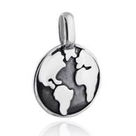 Globe Charm - 925 Sterling Silver