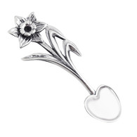 Daffodil Salt Spoon with Heart Bowl New Sterling Silver Collectible Flatware