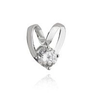 Heart Slider with CZ - 925 Sterling Silver