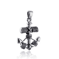 Anchor Pendant - 925 Sterling Silver - Wrapped Rope