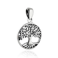 Tree of Life Pendant - 925 Sterling Silver - Small Round