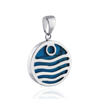 Lab Turquoise Ocean Wave Pendant - 925 Sterling Silver