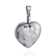 Etched Heart Urn Locket Pendant - 925 Sterling Silver - Perfume or Ashes