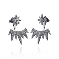 Star and Spikes Ear Jacket Earrings - 925 Sterling Silver with CZ - Posts