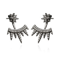 Black Star and Spikes Ear Jacket Earrings - 925 Sterling Silver Posts with CZ
