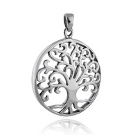 Tree of Life Pendant - 925 Sterling Silver - Round Cutout Filigree Family Gift