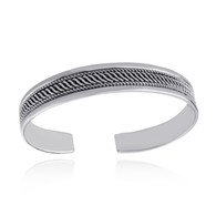 "7.5"" Twist Design Cuff Bracelet - 925 Sterling Silver - Textured Adjustable"