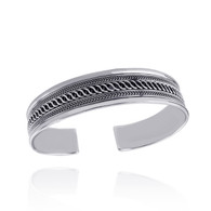 "7.5"" Twist Design Cuff Bracelet - 925 Sterling Silver - Braided Unisex"