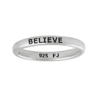 Believe Narrow Band Ring - 925 Sterling Silver