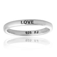 Engraved LOVE Narrow Band Ring - 925 Sterling Silver
