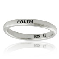 Engraved FAITH Narrow Band Ring - 925 Sterling Silver