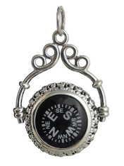 Victorian Working Compass Pendant - 925 Sterling Silver