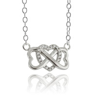 Infinity CZ Heart Necklace - 925 Sterling Silver