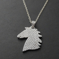Horse Necklace - Sterling Silver with CZ