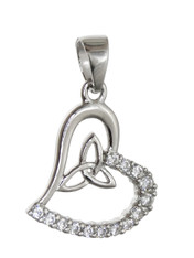 Celtic Heart Trinity Pendant - Sterling Silver