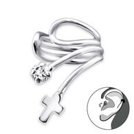 Cross Ear Cuff  - 925 Sterling Silver with CZ