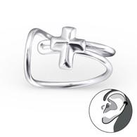 Cross Ear Cuff Earring - 925 Sterling Silver