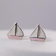 Sailboat Earrings - Sterling Silver with Enamel