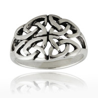 Celtic Four Trinity Knot Ring - 925 Sterling Silver