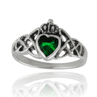 Claddagh Ring - 925 Sterling Silver with Emerald Green Heart CZ