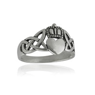Celtic Knot Claddagh Heart Ring - 925 Sterling Silver