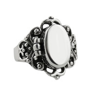 Victorian Scroll Poison Ring - 925 Sterling Sivler