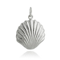 3D Shell Charm Pendant - 925 Sterling Silver
