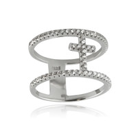 Double Band Cross Ring - 925 Sterling Silver with CZ