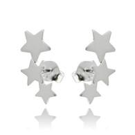 Star Ear Climber Post Earrings - 925 Sterling Silver