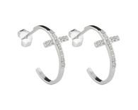 Sterling Silver Cross Hoop Post Earrings with Cubic Zirconia