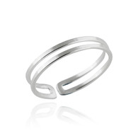 Sterling Silver Double Bar Midi Ring - Adjustable