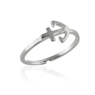 Sterling Silver Anchor Midi Ring