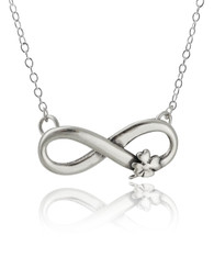 Infinity Necklace with Four Leaf Clover - 925 Sterling Silver