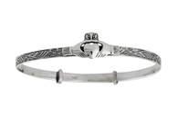 Claddagh Bangle Bracelet - 925 Sterling Silver