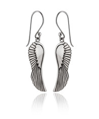 Angel Wing Dangle Earrings - 925 Sterling Silver