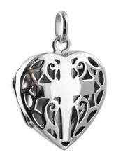 Cross in Heart Locket - 925 Sterling Silver
