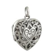 Heart Filigree Locket - 925 Sterling Silver