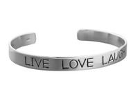 Live Love Laugh Cuff Bracelet - 925 Sterling Silver