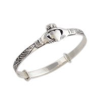 Sterling Silver Baby Claddagh Bangle Bracelet