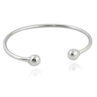 Charm Cuff Bangle Bracelet-925 Sterling Silver - Removable Bead 7-inch