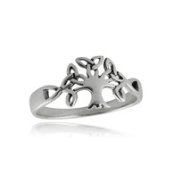 Celtic Trinity Tree of Life Ring - 925 Sterling Silver