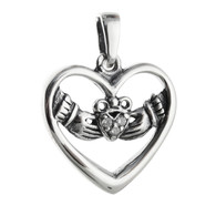 Celtic Claddagh Heart Pendant - 925 Sterling Silver