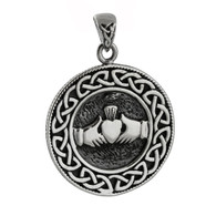 Celtic Claddagh Medallion Pendant - 925 Sterling Silver